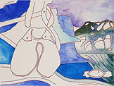 Anjuna 30, 24 x 32 cm, Zeichnung, koloriert