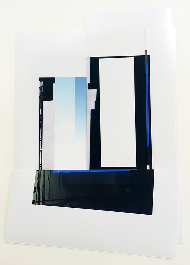 Studio Projection (Collage), 2019, Cut deskjet print, 12 x 10 inches