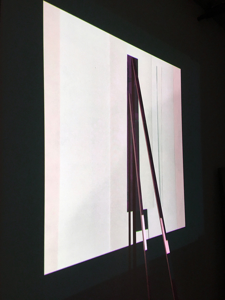 Studio Projection Painting, 2018, Light projection on painted panel and wall, 120 x 96 x 72 inches