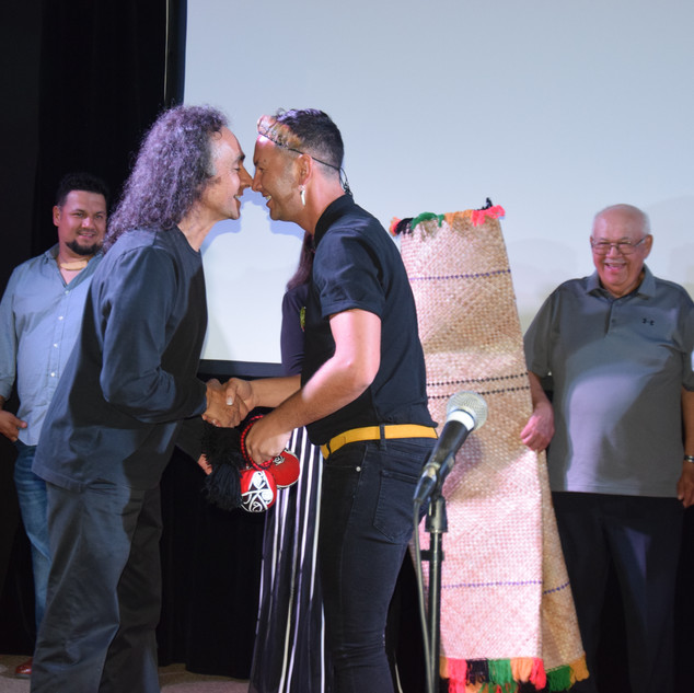 WIFF 2019 Peter and Blake Debassige do the nose to nose