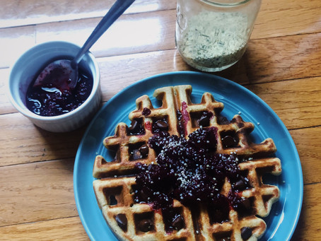 Whole wheat sourdough waffles with quick berry compote