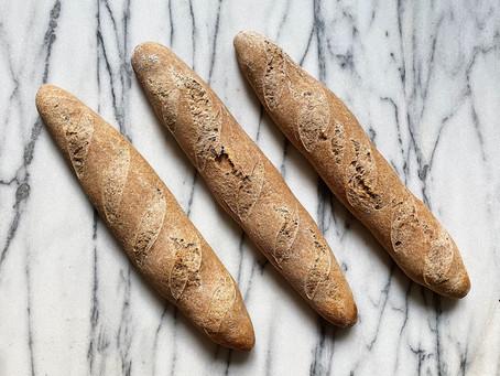 100% whole grain spelt sourdough baguettes