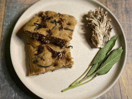 Sourdough rye focaccia with mushrooms and sage