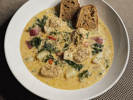 Creamy {vegan} sausage, kale, and potato soup
