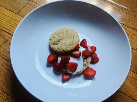 Vegan strawberry shortcake with sourdough discard whole wheat biscuits and coconut cream