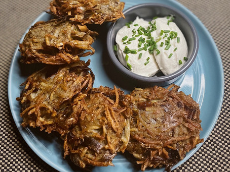 Vegan potato leek latkes with easy cashew sour cream