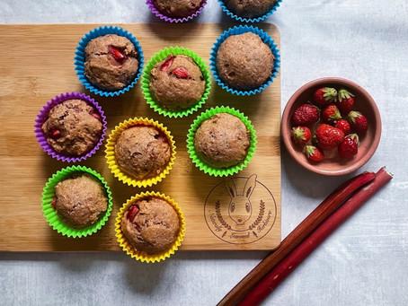 Strawberry rhubarb einkorn muffins with coconut milk