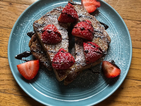 Vegan french toast with homemade sourdough sandwich bread