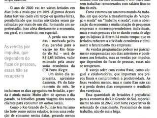 ARTIGO - Feriados 2020: R$ 5,65 bilhões em perdas para o varejo gaúcho