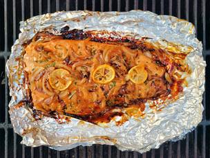 Grilled Teriyaki Salmon with Caramelized Onion
