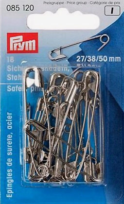 18 Épingles de sûreté  en acier assorties