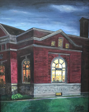 Thank You Mr. Phillips  #9  Jane O'Shea  Oil  When traveling at night up Main Street in Homer, one is struck by the beauty of the windows on the Phillips Free Library.  NFS