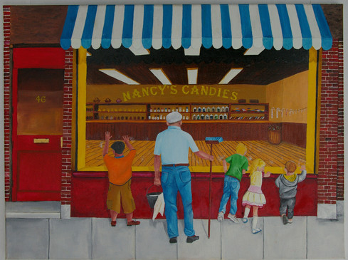 Exercise in Futility  #58  Richard Simister  Oil  To the children, the window is a barrier to their desire for candy. To the window washer, the window is a chore that needs to be done over and over again.  $100