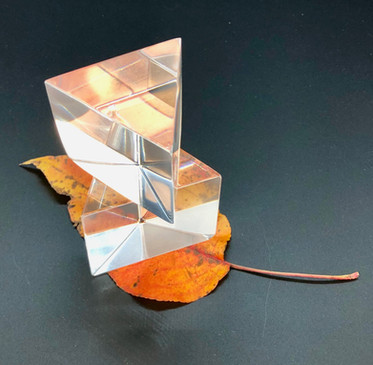 Windows on a Leaf  #51  William H. McNeil  Cold Worked Lead Glass Cut and Polished, Dead Leaf  I have made two lead glass prisms that are stacked on one another, with a dead leaf sitting underneath.  The prisms give the illusion of off-centered placement until further inspection, and the leaf adds a fall theme with visual effects.  $250