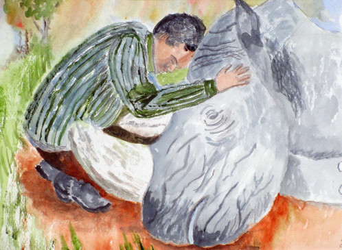 Window on the World  #2  Jane Newman  Watercolor  This watercolor is adapted from a National Geographic photograph of the last male white rhino. It highlights the conflict between animals, people and the environment. While this rhino died a natural death, thousands more were poached for their horns to be ground up for aphrodisiacs, leaving the carcasses to rot.  NFS
