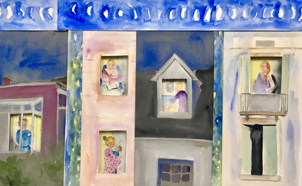 Late Night Light  #12  Emily Gibbons  Watercolor  This piece uses windows to peek into the late nights of mothers and babies. It can feel isolating and easy to forget so many other mothers are up doing the same things.  $450