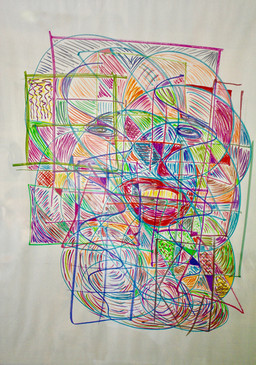 """Facial Fragments  #21  Frank Kelly  Marker on Newsprint  Multiple, overlapping, stained glass-like """"windows"""" reveal abstract, fragmented facial features … inviting the viewer to wonder whether this is a self-portrait and, if so, what it reveals about the artist … or, if not, who and/or what it's trying to portray?  NFS"""