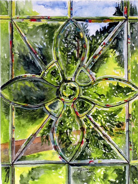 My Sister's Window  #15  Marian Davie  Watercolor  This window lives in my sister's home in Vancouver, B.C. I was captured by the rainbow of colors in the beveled glass and the incredible greens of the garden showing through.  NFS