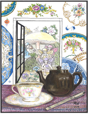 Teatime in Another World  #18  Anne Withers  Pastel, Pigment Pens and Watercolor  The Artist enjoys a cup of English Breakfast, then contemplating Teacups, she creates a Window of China patterns. Through the Window, It's Teatime in another world. This three-layer artwork uses pastel, pigment pens, and watercolor to show how contemplation and creation create a window into imagination.  NFS