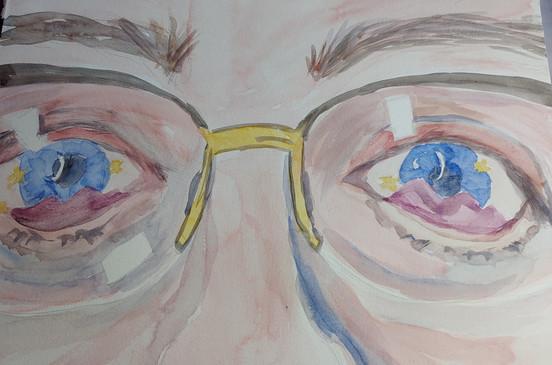 Windows to the Soul  #20  Karen Atkins  Watercolor  The eyes are the windows to the Soul.  $195