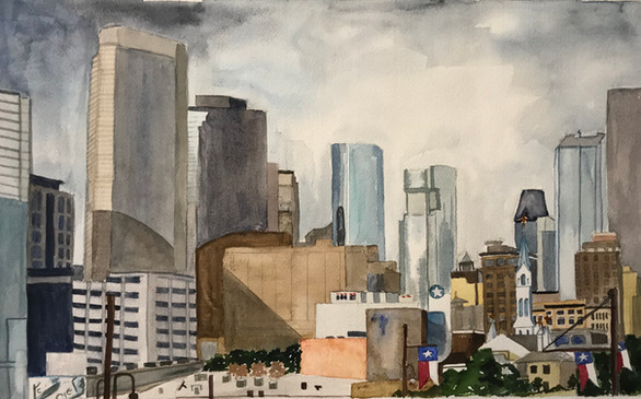 """Looking Out the Window  #26  Donna Marsh  Watercolor  The Houston skyline juts upward from miles of flatness. While traveling on the elevated highway, hundreds of blue window reflections spurred me on to shoot photos out of the car window. Back in Cortland, one photo shouted, """"You must paint me."""" So I did!  NFS"""