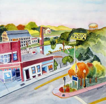 """From the Window of the Gould Hotel  #5  Lisa Schaaf  Watercolor  I captured this scene in early September from the 3rd floor of The Gould Hotel in Seneca Falls, NY. I loved all the elements in this Finger Lakes town scene, including the """"Seneca Knitting Mills"""" across the Cayuga & Seneca Canal to the left. Look at all the windows!  $250"""