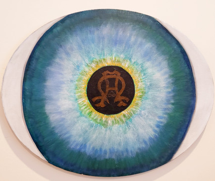 Window to the Soul  #53  Joan Niswender  Oil  This painting was inspired by William Shakespeare who said that the eyes are the window to your soul. The Alpha and Omega letters symbolize fixing your eyes on Jesus - infinity. If someone was to look into your eyes, what would you want them to see?  NFS