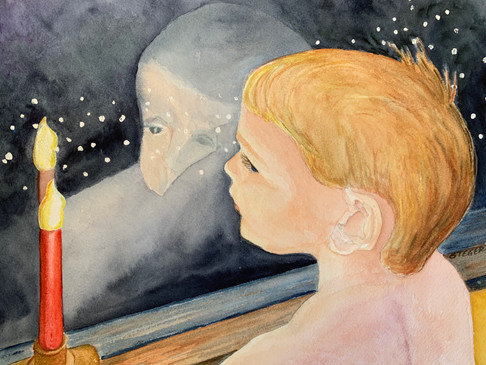 Window of Anticipation  #27  Tom Steger  Watercolor  My grandson, Colin, looking, waiting patiently, hoping that Santa will soon arrive.  NFS