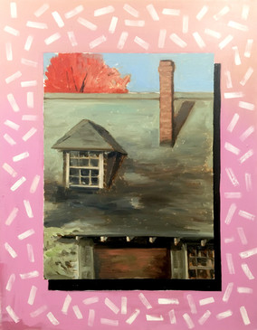 """Bittersweet  #22  Stephen Clark  Oil on Canvas  """"Bittersweet"""" represents the theme of window in several ways. The central image is based on a plein air painting I completed of the Bittersweet Carriage House in Cazenovia, which prominently features the carriage house's windows. Also, the framing device surrounding the central image transforms the entire canvas into a """"window.""""  $1500"""
