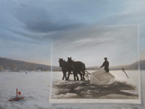 The Last Iceman  #14  Nathan Loda  Oil  Ice harvesting was a major industry in the 1800s. Cut from rivers and lakes, ice was packed, and shipped to areas worldwide. The painting uses a photograph of an ice harvest, providing a window into this bygone industry, juxtaposing the image over Skaneateles Lake with the recreation of ice fishing.  $1200