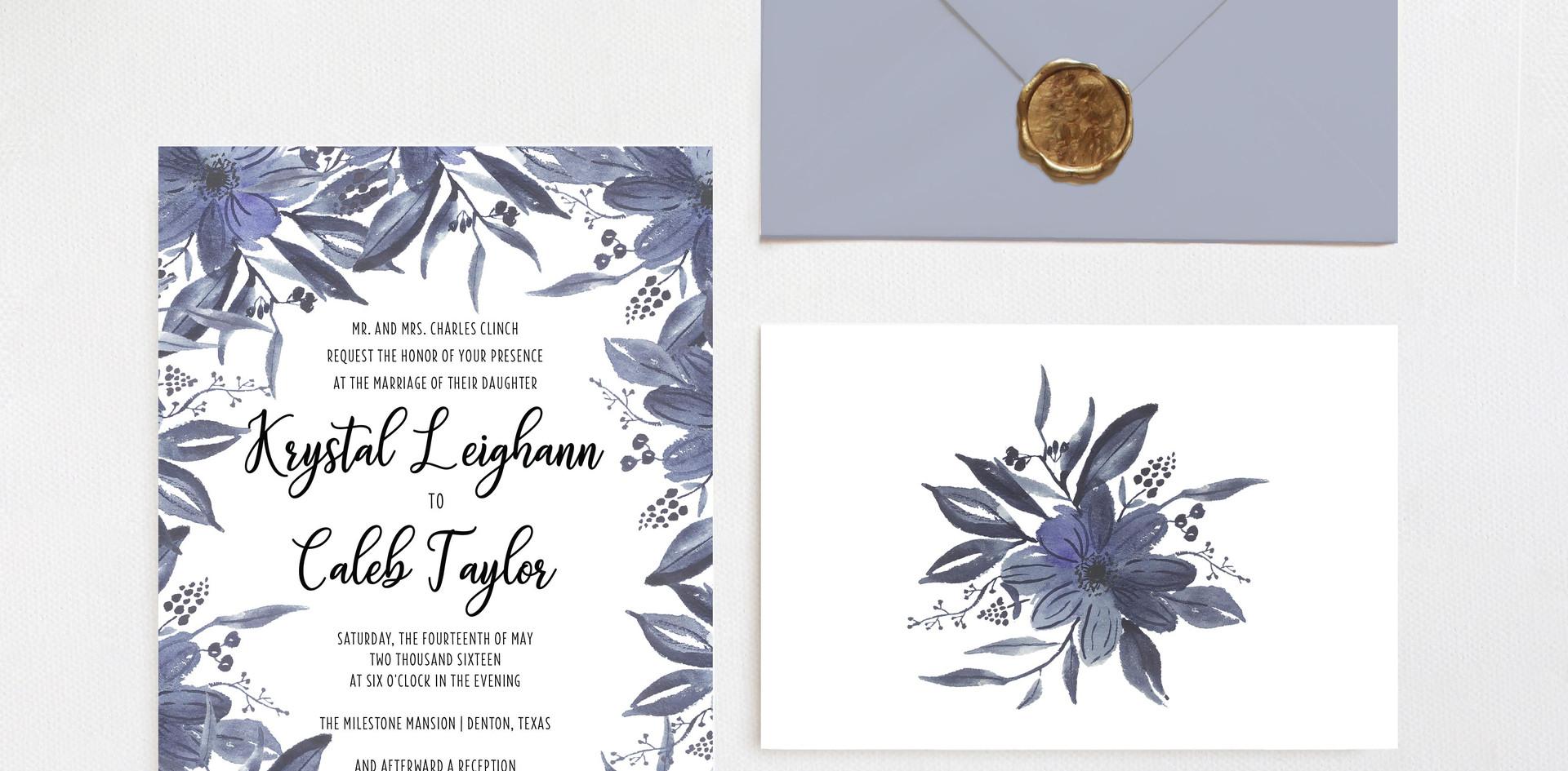 Blue Floral Invitation Suite