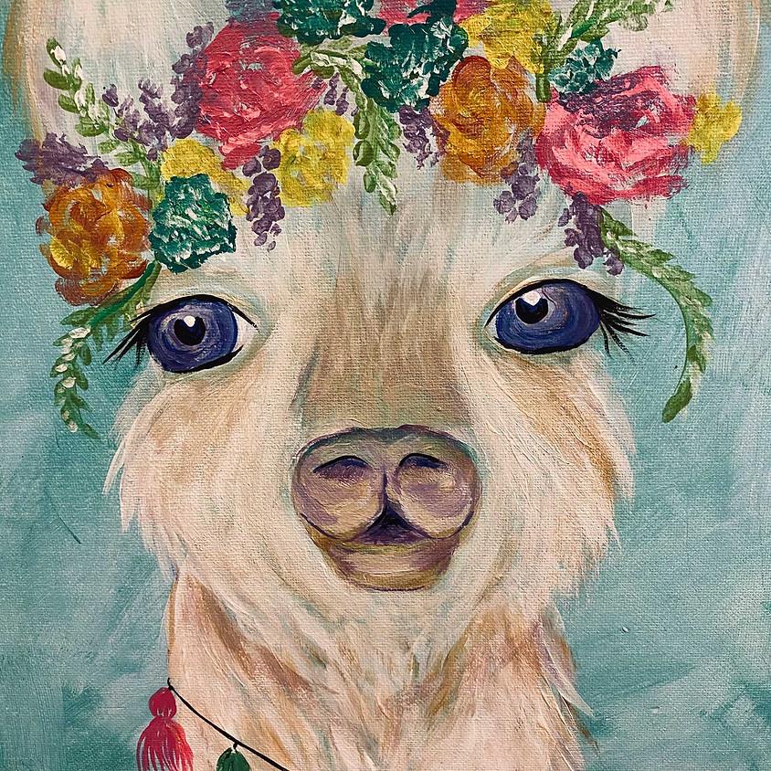 Acrylic Llama Painting