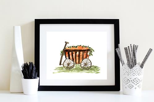 Pumpkin Wagon Art Print