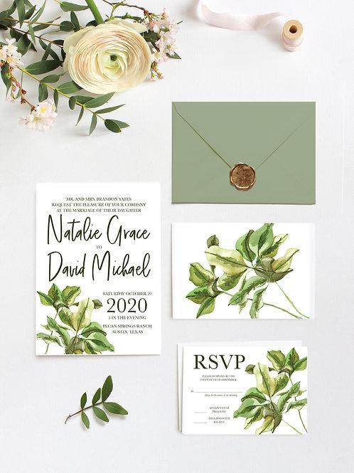Modern Greenery Invitation