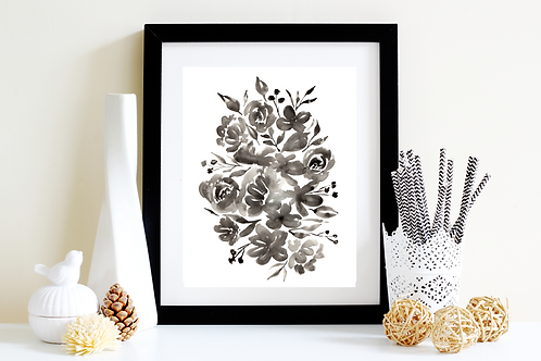 Black and White Floral Lovely Art Print