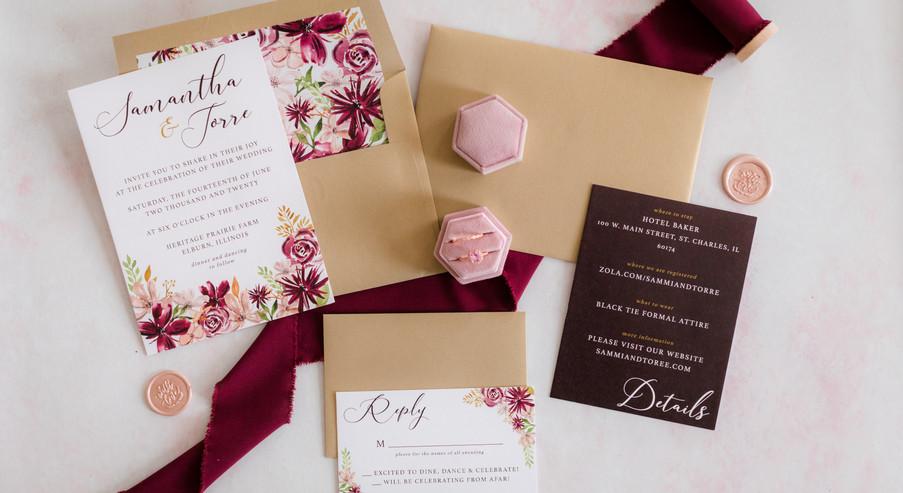 Blush and Burgundy Invitation Suite