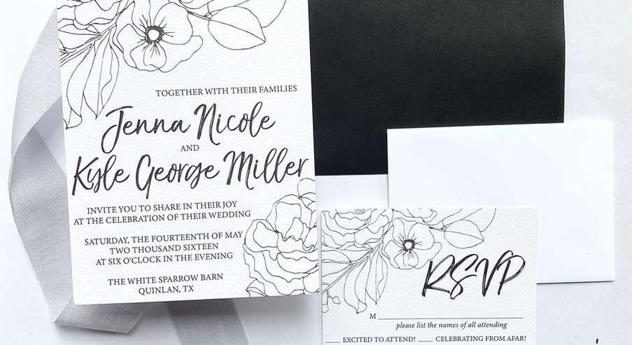 Modern Floral Invitation Suite