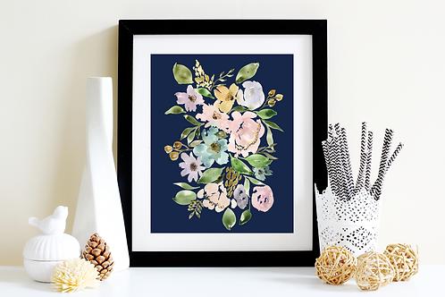 Navy Floral Lovely Art Print