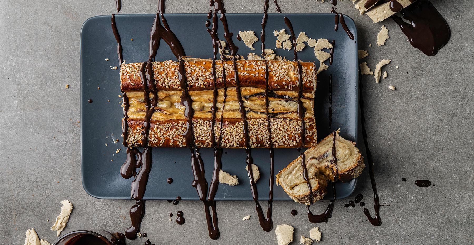 עוגת קראנץ' שוקולד חלווה
