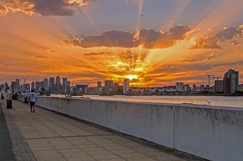 Sunset Over Thames Barrier