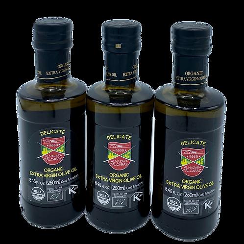 3 Bottles-Delicate Extra Virgin Olive Oil-USDA Organic-Kosher-8.45 fl oz