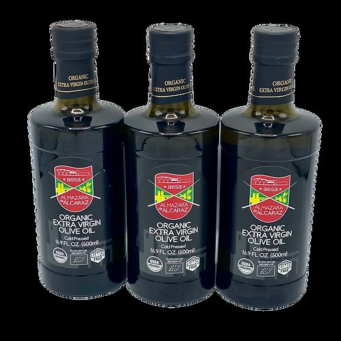 3 Bottles-Medium Organic Extra Virgin Olive Oil-USDA Organic-Kosher-16.9 fl oz