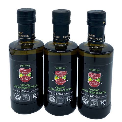 3 Bottles-Medium Extra Virgin Olive Oil-USDA Organic-Kosher-8.45 fl oz