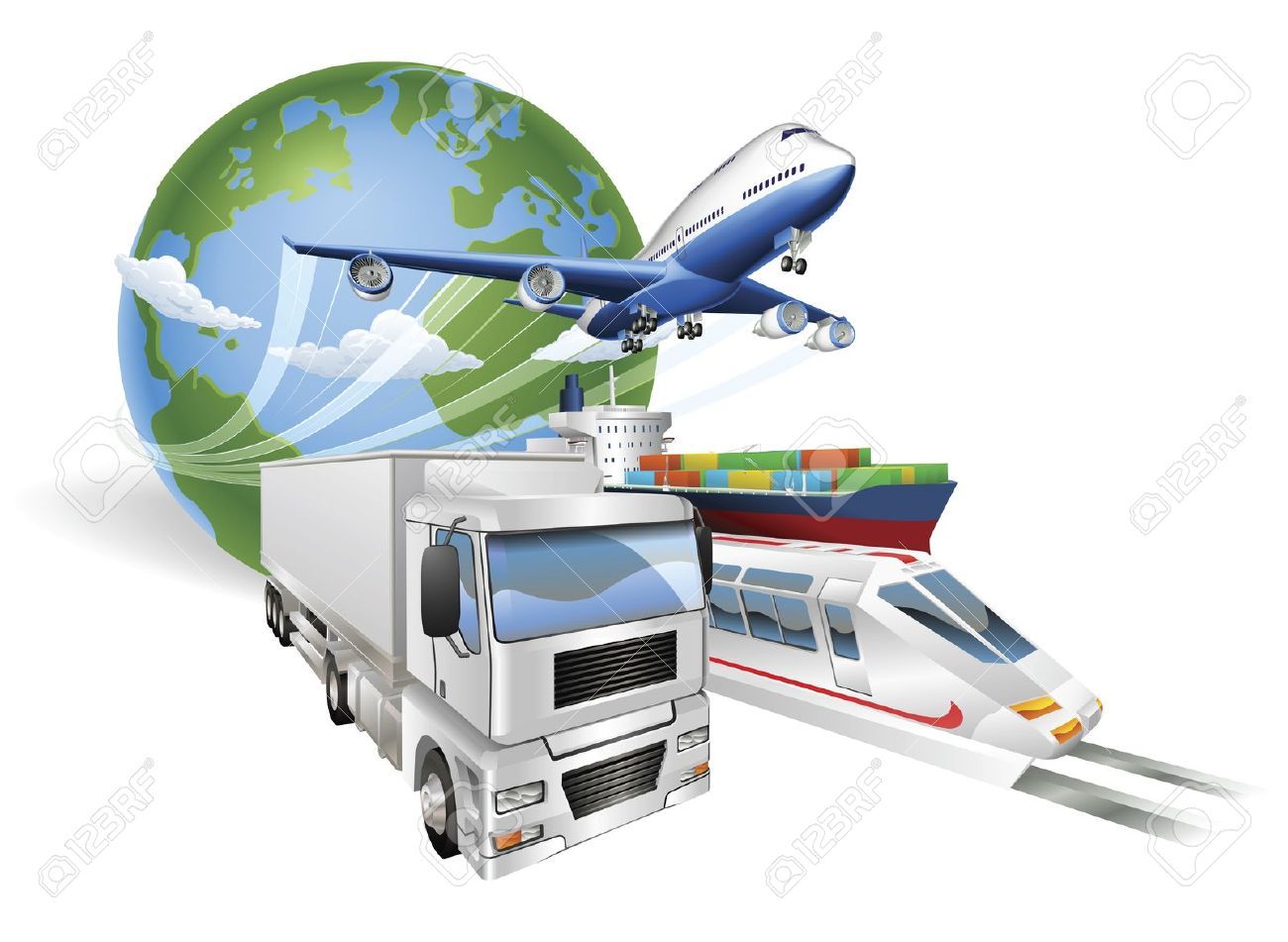 9584534-Global-logistics-concept-illustration-Globe-airplane-aeroplane-truck-tra