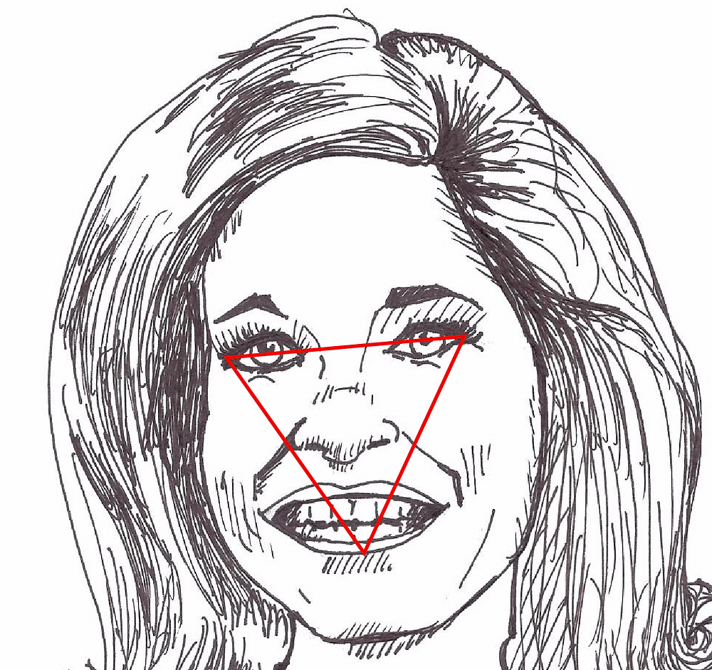 Mary Tyler Moore Illustration with triangle overlay.