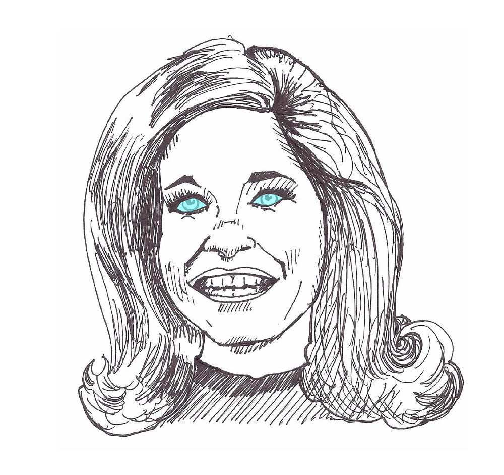 Mary Tyler Moore illustration with eye outlined.