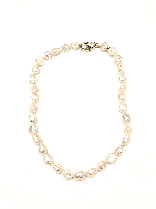 Chan Luu Short Fresh Water Pearl Necklace with Sterling Silver Serpentine Clasp