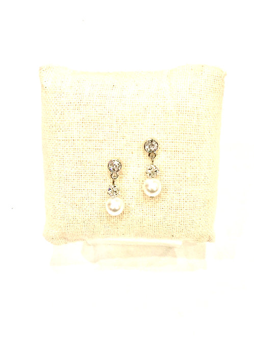 Yolanta Designs Silver with White Pearl and Clear Crystal Drop Earring