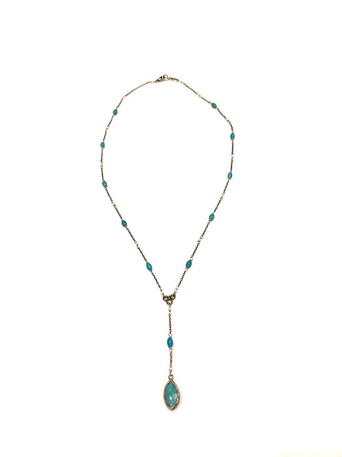 Chan Luu Short Necklace with Turquoise Stones and Drop