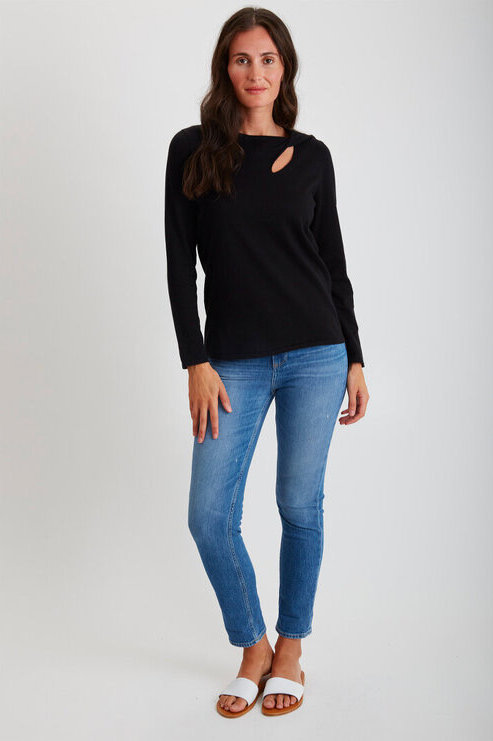 Belford Twisted Slit Neck Sweater